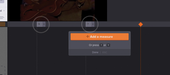 Add measure lines by tapping the Add measures button or pressing T or Y